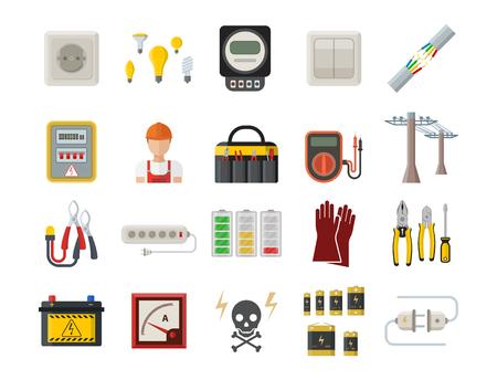 Energie elektriciteit macht pictogrammen batterij vector illustratie industriële elektricien voltage socket technologie. Stockfoto - 90743965