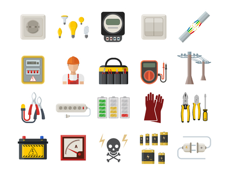 Energy electricity power icons battery vector illustration industrial electrician voltage socket technology.
