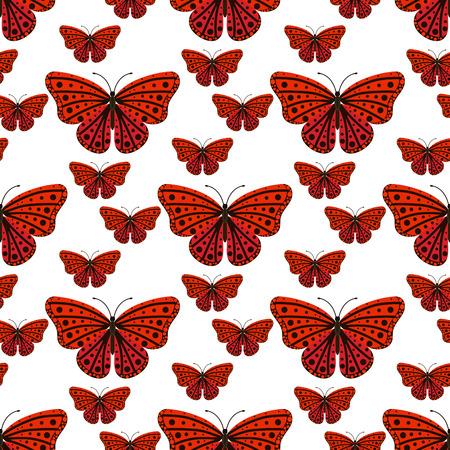 Kleurrijke vlinders met abstracte decoratieve naadloze patroon achtergrondvlieg huidig ??silhouet en van de de lenteinsect van de schoonheidaard de decoratie vectorillustratie. Stock Illustratie