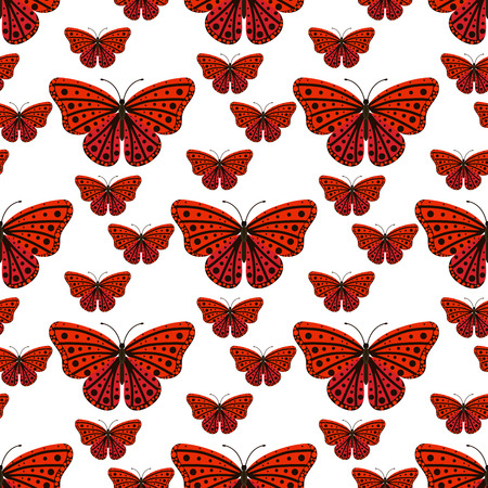 Colorful butterflies with abstract decorative seamless pattern background fly present silhouette and beauty nature spring insect decoration vector illustration.