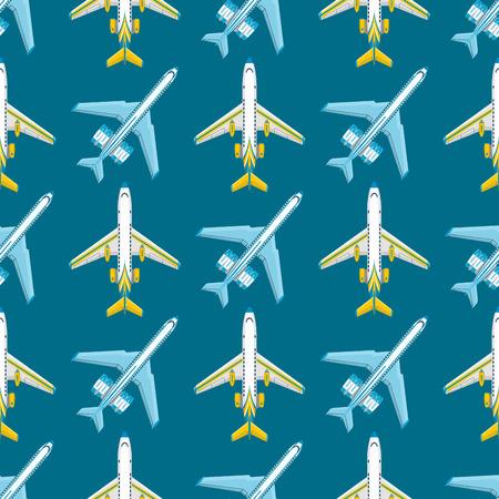 ベクトル飛行機イラストシームレスなパターン背景の航空機輸送方法の設計速度航空。  イラスト・ベクター素材