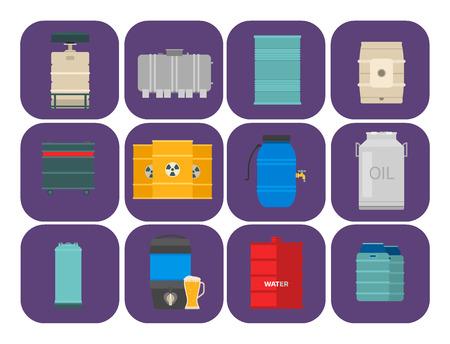 Lo stoccaggio del barile del combustibile del contenitore di tamburi di petrolio rema l'illustrazione chimica di vettore delle navi chimiche dei serbatoi di capacità dei carri armati naturali di capienza del metallo Archivio Fotografico - 90743970