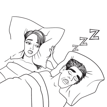 Woman covering ears while man snoring in bed at home sleep problem vector. Illustration