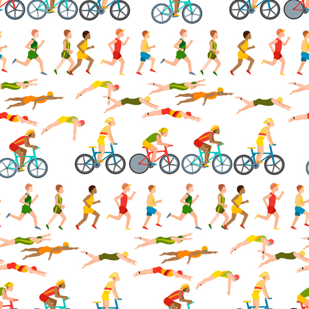 Athletic run man people jogging summer sport enjoying runner exercising their healthy lifestyle vector illustration seamless pattern background