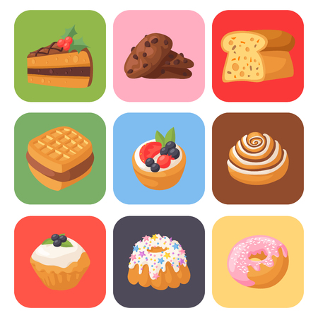Cookie cakes tasty snack delicious chocolate homemade pastry biscuit sweet dessert bakery food vector illustration Stock Vector - 90743980