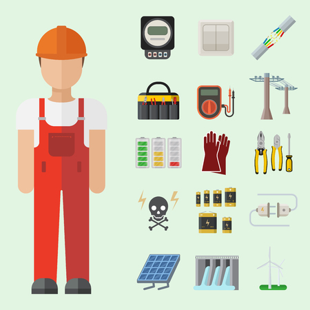 Energy electricity power icons battery vector illustration industrial electrician voltage socket technology. Stok Fotoğraf - 90743989