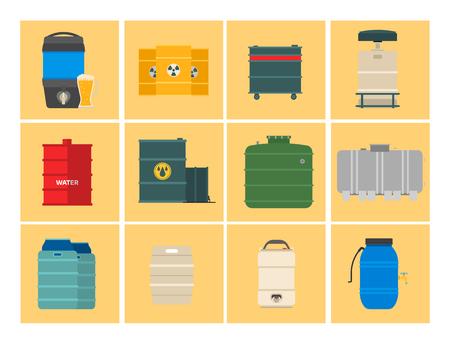 Olie drums container brandstof vat opslag rijen stalen vaten capaciteit tanks natuurlijke metalen darmen chemische vaartuig vector illustratie Stockfoto