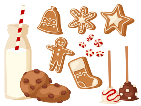 Cookie traditional christmas food cards desserts holiday decoration xmas sweet celebration meal vector illustration. Stock Photo