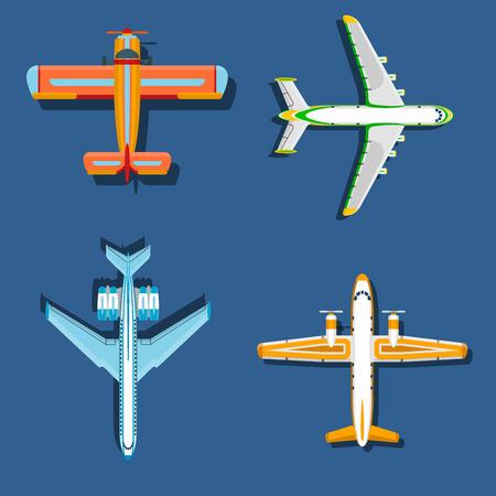 ベクトル飛行機イラスト飛行機トップビューと航空機輸送の旅道設計スピード飛行機航空。 写真素材
