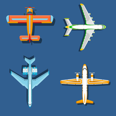 Vector airplane illustration plane top view and aircraft transportation travel way design journey speed plane aviation.