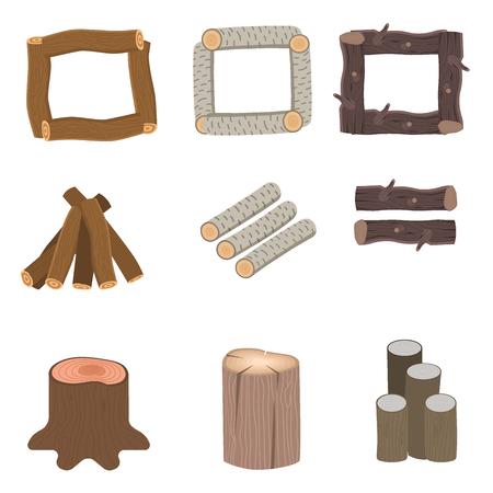建設ビル用積み重ねられた木材ベクトル松材カット切り株木材樹皮材イラスト。 写真素材