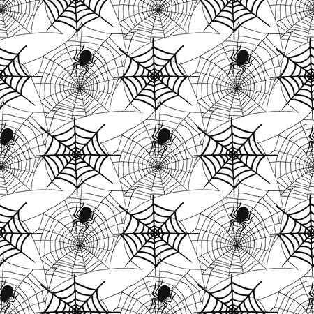 クモやクモ web シルエット不気味なシームレス パターン背景ベクトル クモの巣ハロウィン不気味なネットを恐怖します。  イラスト・ベクター素材