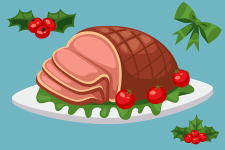 クリスマスフードやデザート休日の装飾クリスマス甘いお祝いベクトル伝統的なお祝いの冬のケーキ自家製料理。  イラスト・ベクター素材