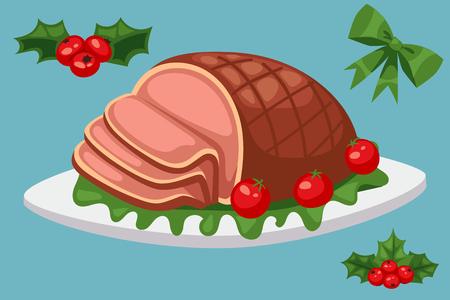 La nourriture de Noël et desserts vacances décoration Noël douce célébration vecteur traditionnel gâteau d'hiver festif plat fait maison. Banque d'images - 90744000