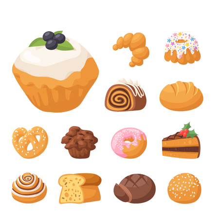 Cookie vector cakes tasty snack delicious chocolate homemade cookie pastry biscuit cakes sweet dessert bakery food illustration Stock Vector - 90744002