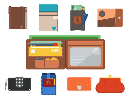 Purse wallet vector money shopping buy business financial wallets payment bag and wallet accessory trendy cash wealth fashion illustration.