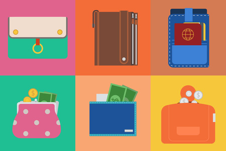 Purse wallet with money shopping buy business financial payment bag and accessory trendy cash wealth vector illustration.