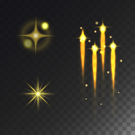 Glowing lights effect vector stars effect glow blur stars isolated on dark transparent background illustration.