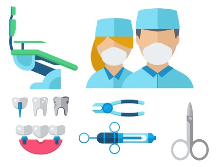 Dentist doctor character and stomatology equipment medicine instrument vector illustration. Illustration