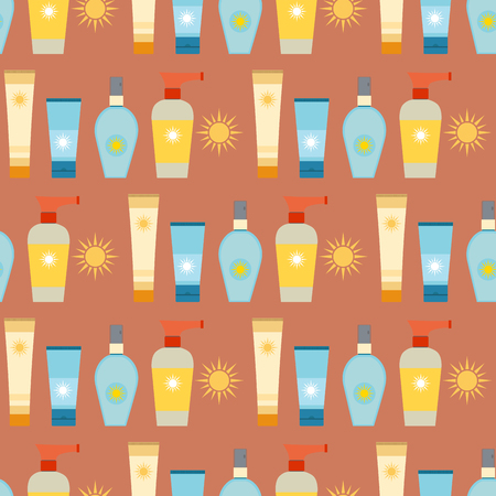 Cream sunscreen bottle sunblock cosmetic summer container tube packaging design seamless pattern background vector illustration.