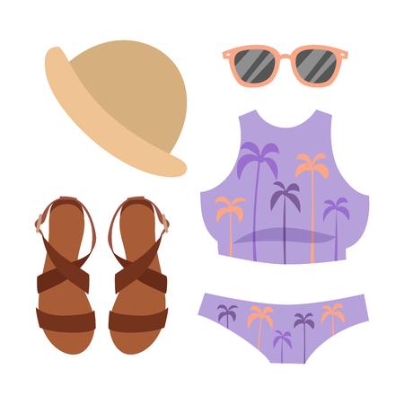 Strandkleding bikini vector doek mode kijkt strand zee vakantie lifestyle vrouwen collectie zee licht schoonheid ouderwetse kleding illustraton Stock Illustratie