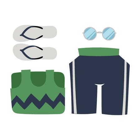 ビーチウェアビキニベクトルクロスファッションはビーチシーバケーションライフスタイル女性コレクションシーライト美しいファッションイラス  イラスト・ベクター素材
