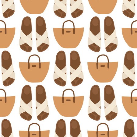 Hand bag female fashion seamless pattern background luxury style elegance purse accessory vector illustration.