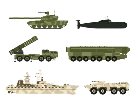 Military army transport technic vector war tanks industry technic armor system armored army personnel camouflage carriers weapon illustration. Vettoriali
