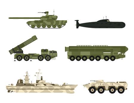 Wojskowy transport wojskowy technika wektor czołgi wojenne przemysł technika zbroja personel wojskowy kamuflaż przewoźników broń ilustracja.