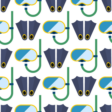 Snorkeling or scuba fins or flippers underwater swimming deep professional shoe exercise seamless pattern background vector illustration.