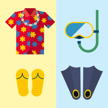 Snorkeling or scuba fins or flippers underwater swimming deep professional shoe exercise summer cloth vector illustration. Illustration