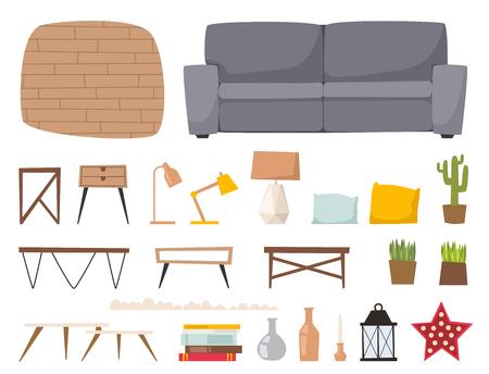 Furniture room interior design apartment home decor concept flat contemporary architecture indoor elements vector illustration.