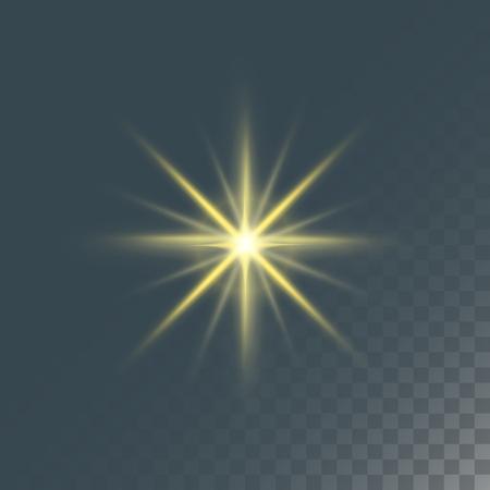 Gloeiend die lichteffect en van sterren effect de sterren van het gloedonduidelijk beeld op donkere transparante vectorillustratie worden geïsoleerd als achtergrond. Stock Illustratie
