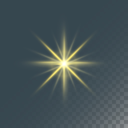 Glowing lights effect and stars effect glow blur stars isolated on dark transparent background vector illustration.
