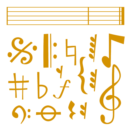 Vector notes music melody colorful musician symbols sound melody text writing audio symphony