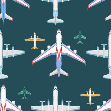 Vector airplane illustration seamless pattern background aircraft transportation travel way design journey speed aviation.