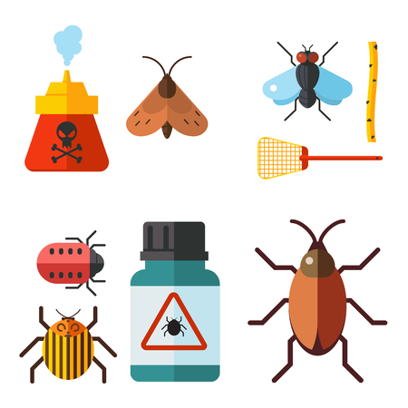 El insecto casero del vector del insecto de la plaga controla el ejemplo plano de los iconos de los insectos del insecto de la plaga del insecto de la plaga del servicio del exterminador de insectos. Foto de archivo - 90790815