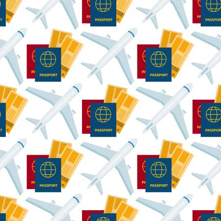 Airplane seamless pattern background aircraft transportation travel passport way design journey speed aviation vector illustration.