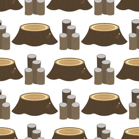 누적 된 나무 소나무 목재 건설 건물 잘라 그 루터 기 목재 나무 껍질 원활한 패턴 배경 벡터 일러스트 레이 션. 일러스트