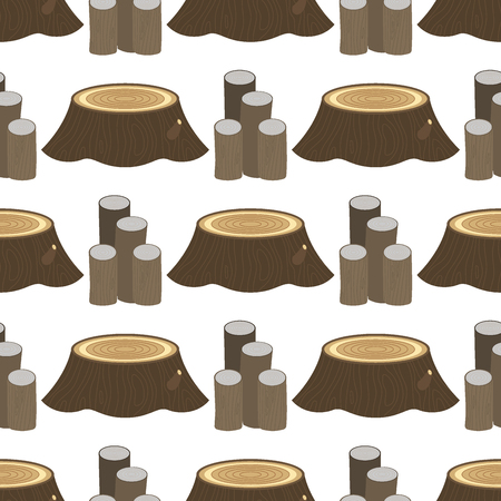 Stacked wood pine timber for construction building cut stump lumber tree bark seamless pattern background vector illustration. Illustration