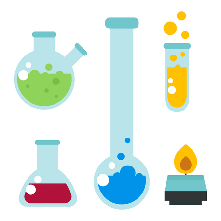 Chemical laboratory flask glassware tube liquid biotechnology analysis and medical scientific equipment chemistry lab experiment vector illustration. Illustration