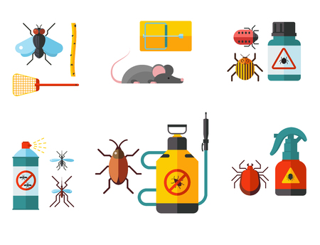 Home pest insect vector control expert vermin exterminator service pest insect thrips equipment flat icons illustration. Imagens - 90966008