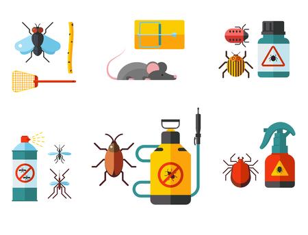 Schädlingsinsektenvektorsteuerfachmann-Schädlingsbekämpferservice-Schädlingsinsekthripsausrüstung flache Ikonenillustration des Schädlings.