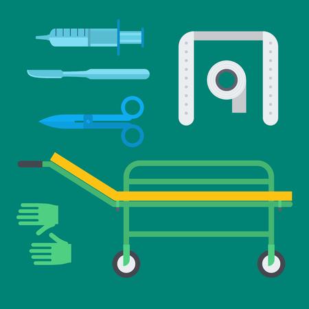 Ambulance medical health emergency treatment elements illustration