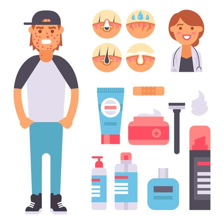 Soins du visage, problèmes de peau, vecteur, humancosmétique propre, boutons, dermatologie, instabilité du visage, soins maigres du visage, défauts, adolescent, illustration, éléments. Banque d'images - 90965767