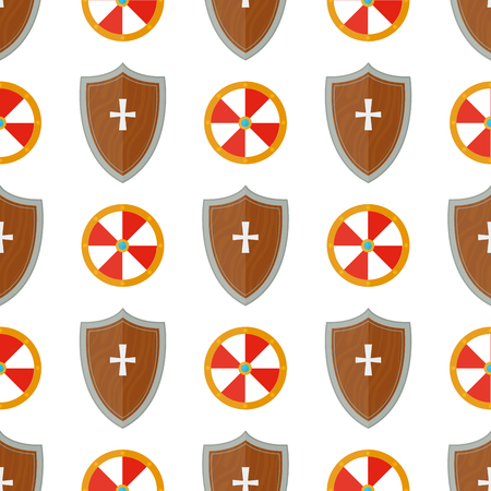 Knight shield medieval weapons heraldic knightly medieval kingdom gear seamless pattern background vector illustration. Illustration