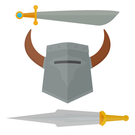 Knights sword medieval weapons heraldic knighthood elements medieval kingdom gear knightly vector illustration. Çizim