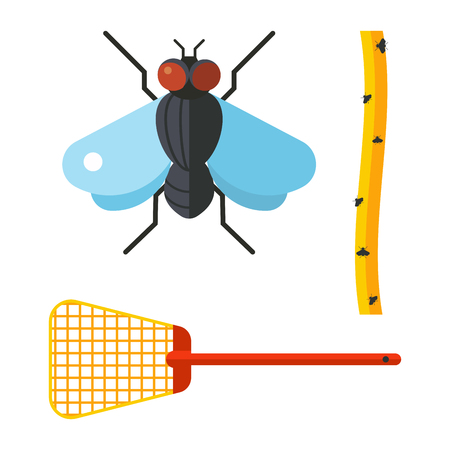 Home pest control expert vermin exterminator service insect thrips equipment flycatcher flytrap vector illustration.