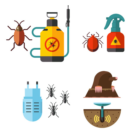 Home pest insect vector control expert vermin exterminator service pest insect thrips equipment flat icons illustration. Stok Fotoğraf - 91011324