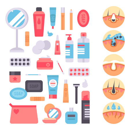 Facial care huidproblemen vector schone menselijke cosmetische puistje dermatologie instabiliteit gezichtsmagere zorg tiener defecten elementen illustratie.